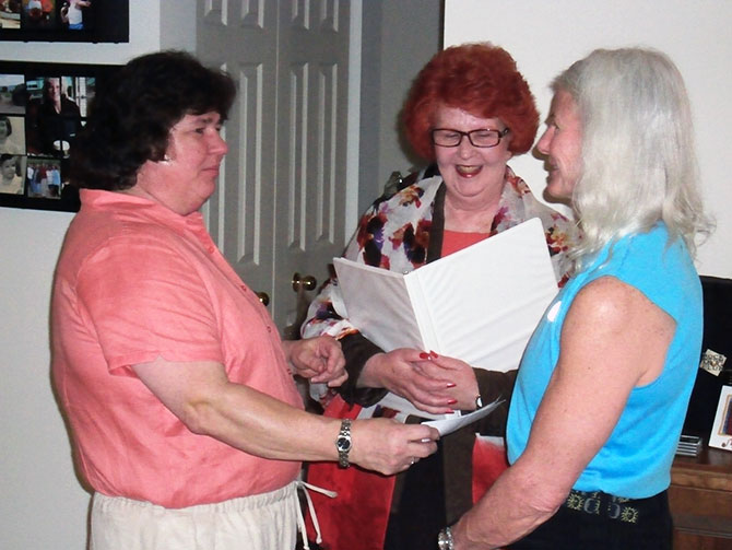 Rose LifeCycle Ceremonies - Celebrant performing lesbian marriage ceremony