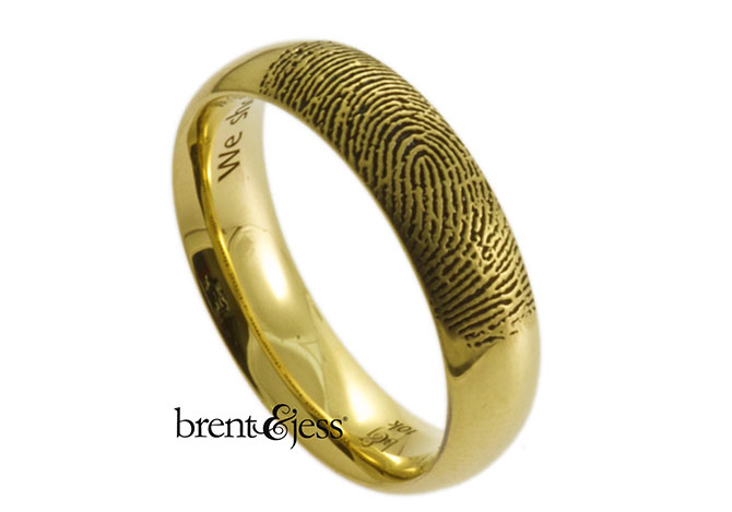 Brent & Jess LLC Jewelry - gold fingerprint wedding ring outside with inside inscription