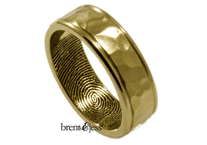 Brent & Jess LLC Jewelry - Hammered wedding band with fingerprint inside
