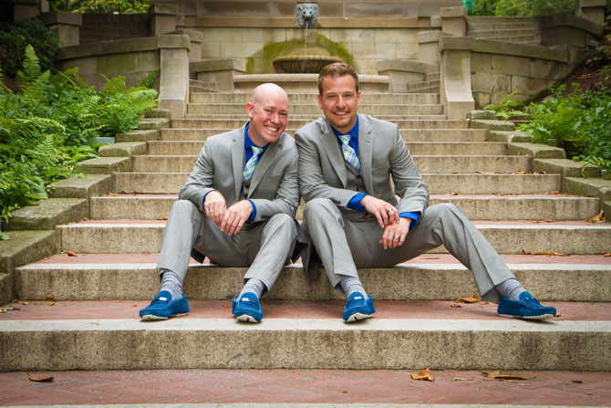 Bayline Studios Photography and Events - Photograph on location of Gay Grooms on Steps