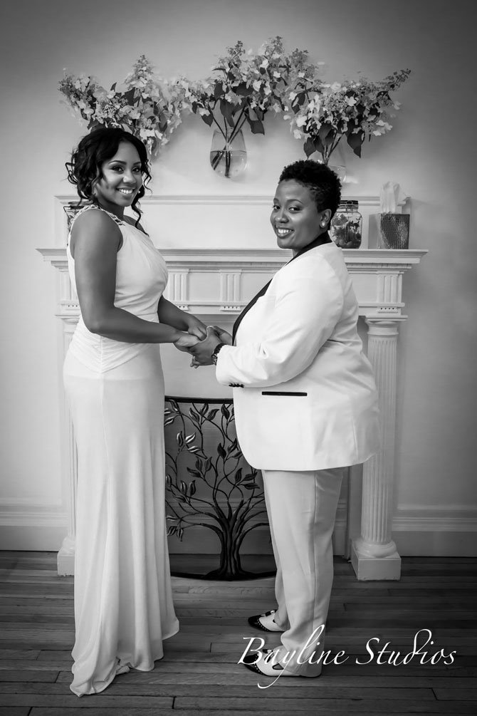 Bayline Studios Photography and Events - Black and White Photo of Lesbian Brides