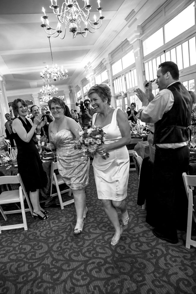 Bayline Studios Photography and Events - Black and White Image of Just Married  Brides