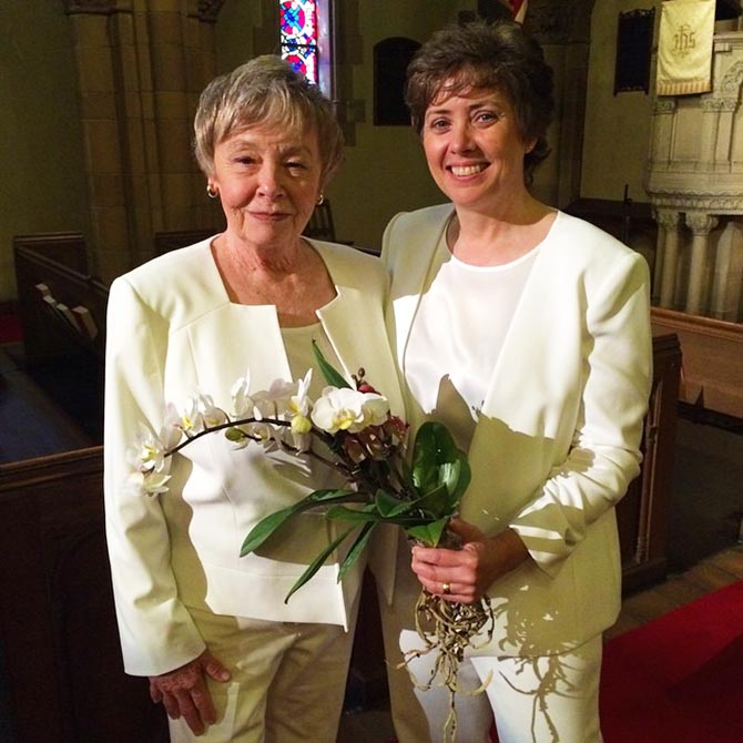 Ceremony Officiants Ellicott City Maryland Lesbian Couple In White