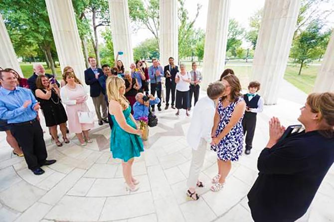 Ceremony Officiants Ellicott City Maryland Lesbian Wedding Kiss