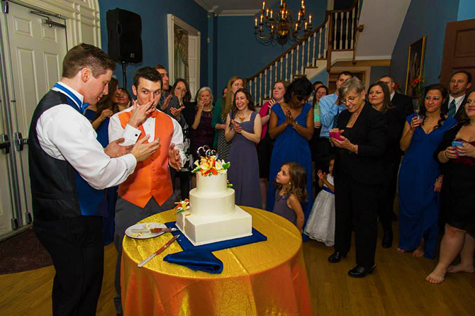 Historic Oakland Columbia Maryland Gay Couple Cake Cutting