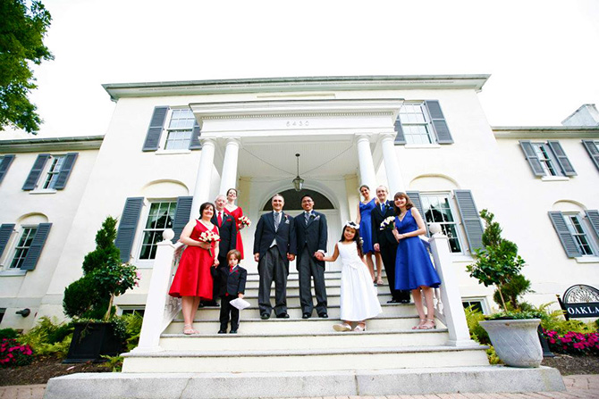 Historic Oakland Columbia Maryland Gay Couple Posing With Wedding Party