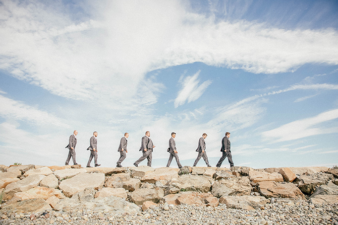 Groomsmen walking on the beach - Nahant, MA LGBT Wedding Reception Venue - The Oceanview of Nahant