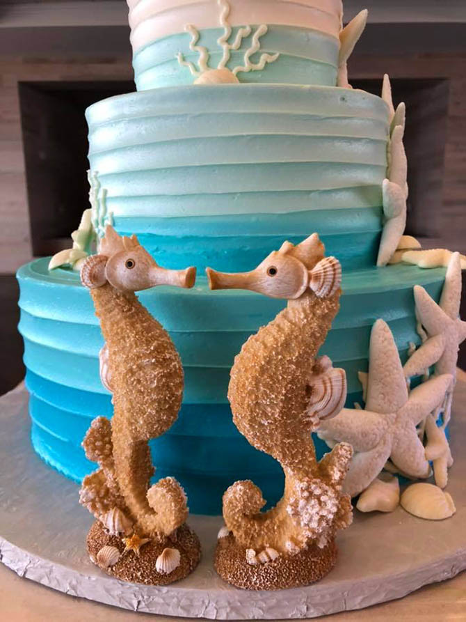 Seahorse Wedding Cake - Nahant, MA LGBT Wedding Reception Venue - The Oceanview of Nahant