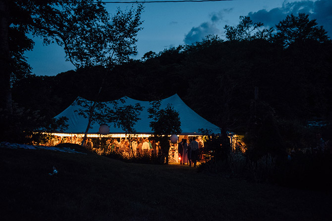Outdoor wedding reception tent evening - Berkshires, Massachusetts- Only In My Dreams Events