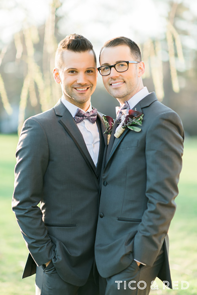 The Endicott Estate In Dedham Massachusetts Gay Couple Pose Outdoors In Grey Tuxedos
