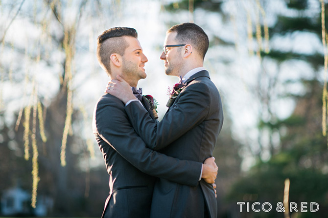 The Endicott Estate In Dedham Massachusetts Gay Couple Embrace In Grey Tuxedos