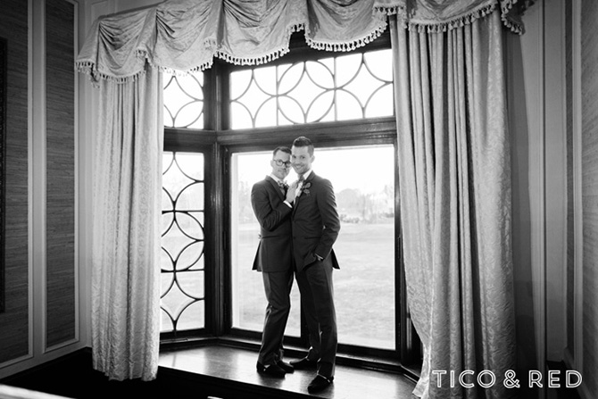 The Endicott Estate In Dedham Massachusetts Gay Couple Pose Indoors In Grey Tuxedos