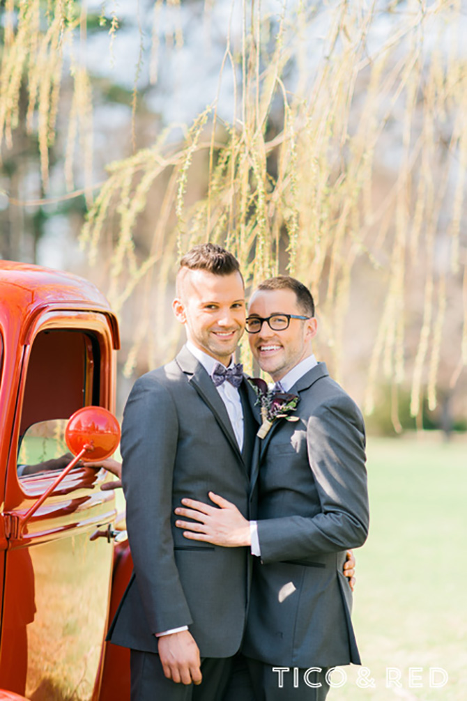 The Endicott Estate In Dedham Massachusetts Gay Couple Pose In Grey Tuxedos By Red Truck