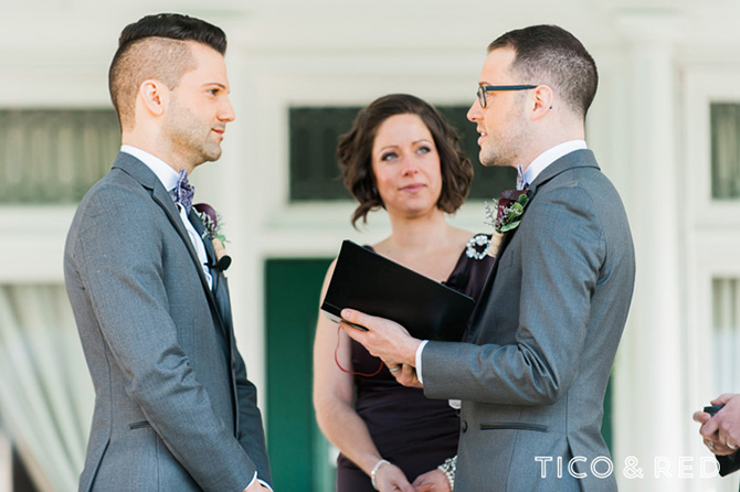 The Endicott Estate In Dedham Massachusetts Outdoor Gay Wedding Ceremony