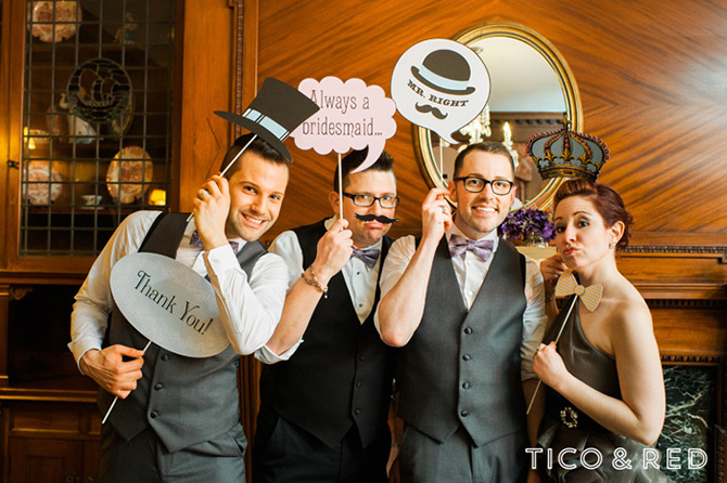 The Endicott Estate In Dedham Massachusetts Wedding Party Funny Pose With Signs
