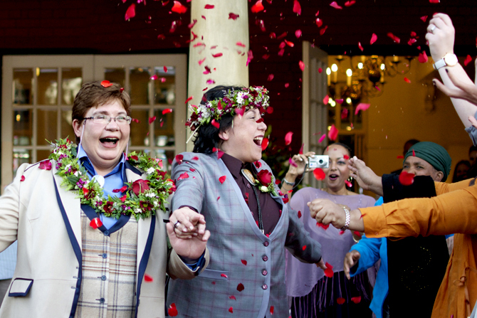 Lesbian wedding flower petal toss after ceremony - Charnell Timms Photography Maple Grove Minnesota