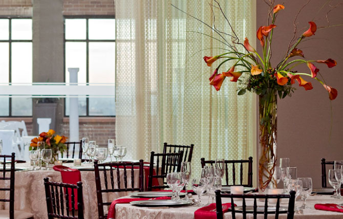 Hyatt Regency St. Louis at the Arch - Gateway Reception Dining Tables with Elegant Floral Centerpiece