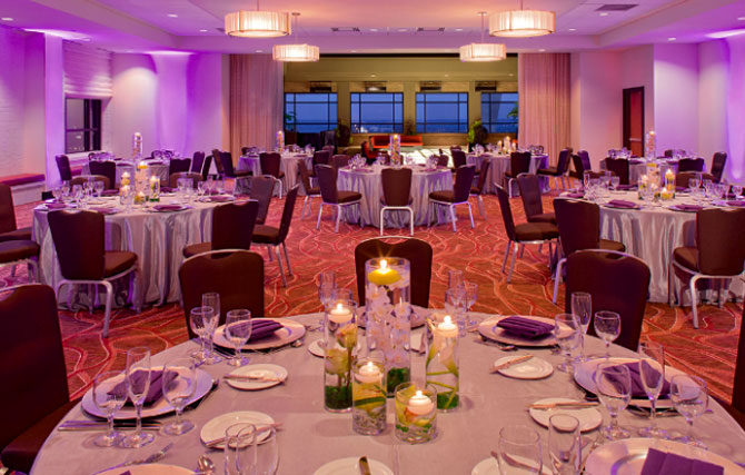 Hyatt Regency St. Louis at the Arch - Indoor Reception with Elegant Dining tables and Uplighting