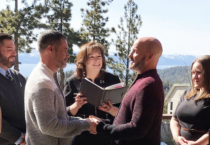 Lake Tahoe LGBT Wedding Ceremony Officiant Gay Wedding