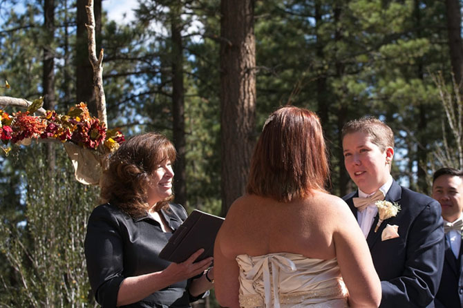 Lake Tahoe LGBT Wedding Ceremony Officiant Lesbian wedding vow exchange