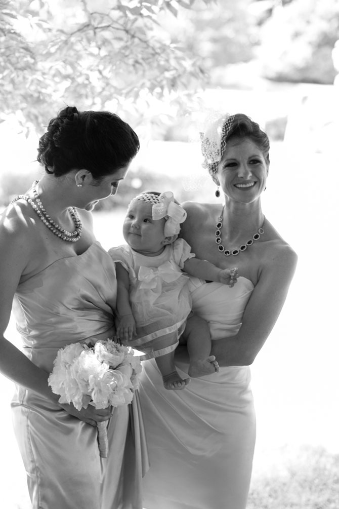 Christopher Lane Photography - Black and white image lesbian brides with baby