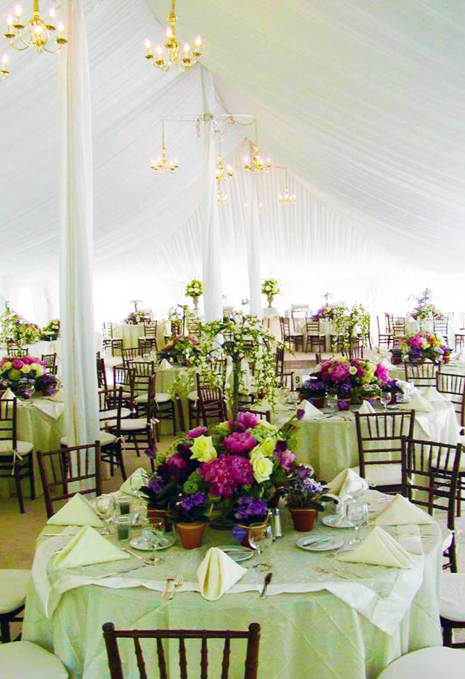 Gorgeous tented wedding reception in radiant orchid and pale green - Culinary Creations