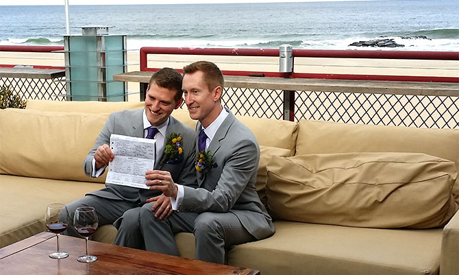 For This Joyous Occasion - Gay Grooms with marriage license