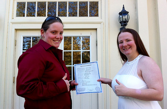 For This Joyous Occasion - Lesbian couple with marriage license