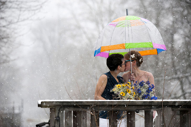 LGBT couple in the snow - Studio A Images