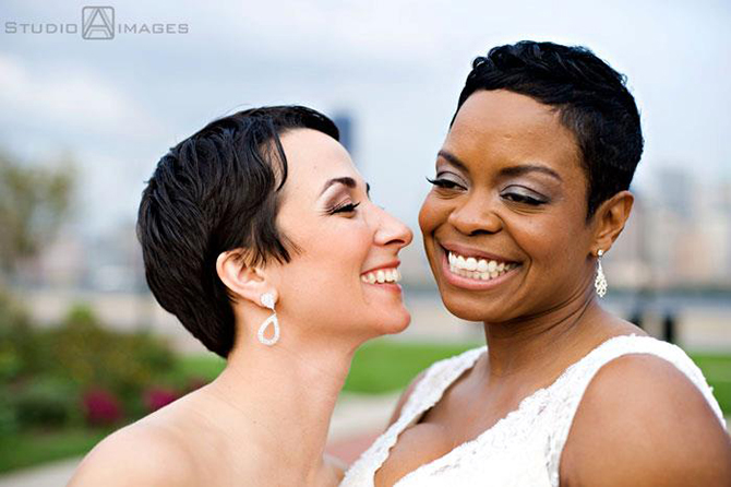 Gorgeous lesbian couple on their wedding day - Studio A Images