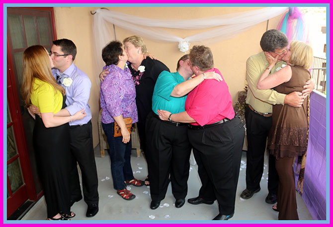 Ricci Photography New Mexico - Lesbian couples kissing after the ceremony