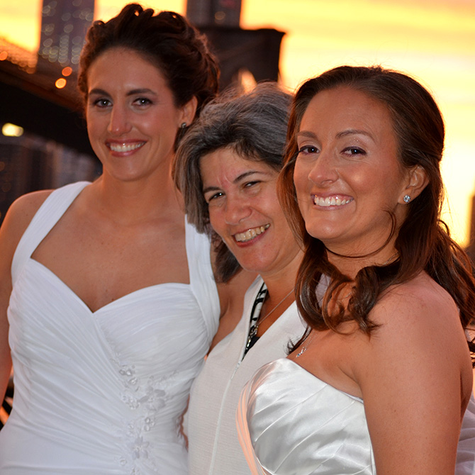 Alice Soloway Weddings - Officiant with brides