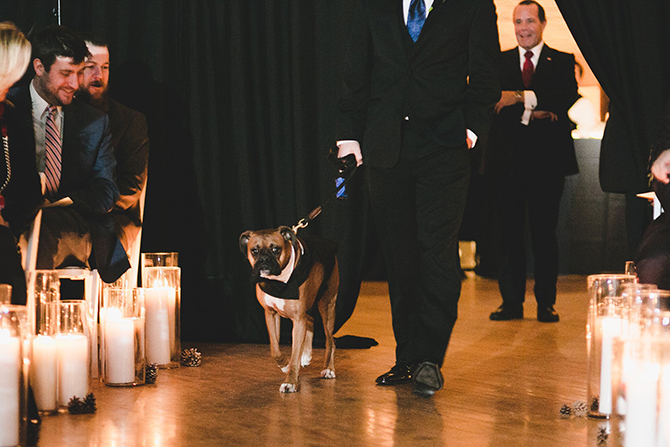 Best man walking dog down aisle - Alice Soloway Weddings - Brooklyn, New York City