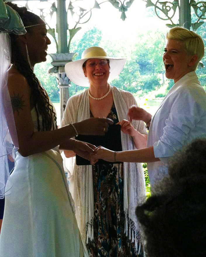 Art Of The Ceremony Manhattan New York Lesbian Wedding Ceremony Outdoors