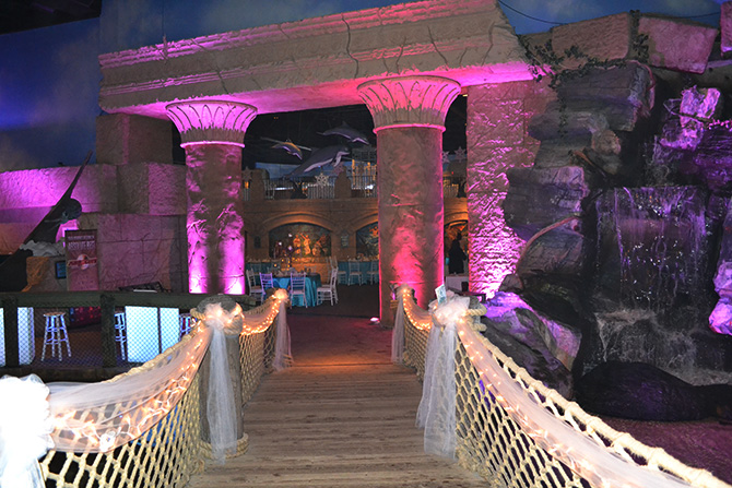 Atlantis Banquets and Events - Bridge and Waterfall Entrance to Reception Venue