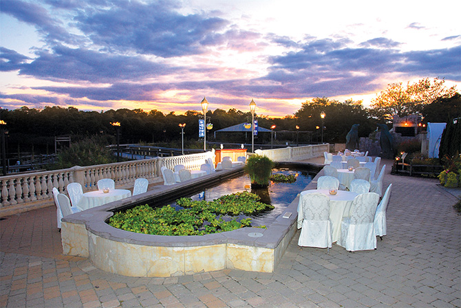 Atlantis Banquets and Events - Lilly Pond Reception Area Outdoors at Sunset