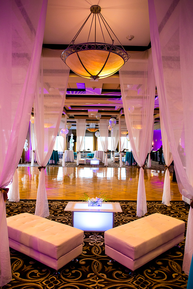 Atlantis Banquets and Events - Magenta lighting ballroom