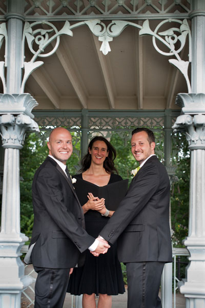 Two grooms married at the Ladies Pavilion in New York City by Jester of the Peace
