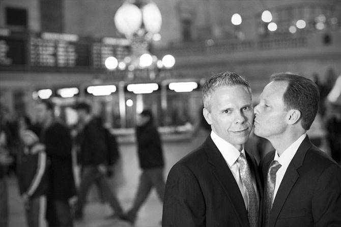 Matthew Knip Photography - Gay couple and a kiss black and white photograph
