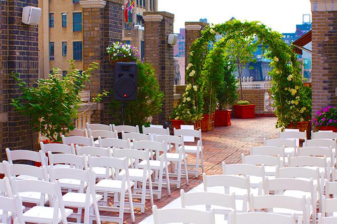Midtown Loft Terrace Outdoor Rooftop Wedding Ceremony Site