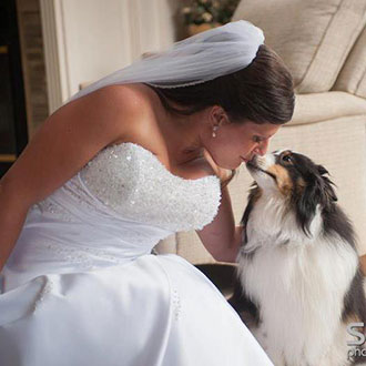 Bride with her dog on her wedding day - Officiant Long Island