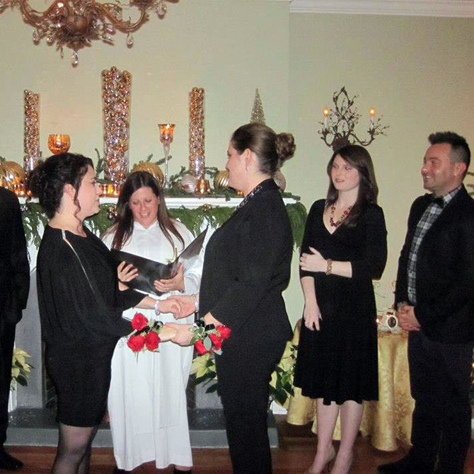 Lesbian marriage ceremony performed by Officiant Long Island