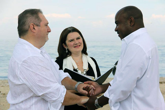 Lasting Footprints Reverend Sarah Margaret - Outdoor Gay wedding ceremony on the beach