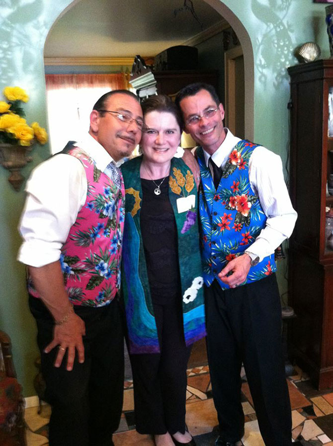 Lasting Footprints Reverend Sarah Margaret - Wedding officiant with gay couple