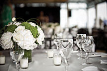 Sunset Terrace at Chelsea Piers black and white photo of wedding reception