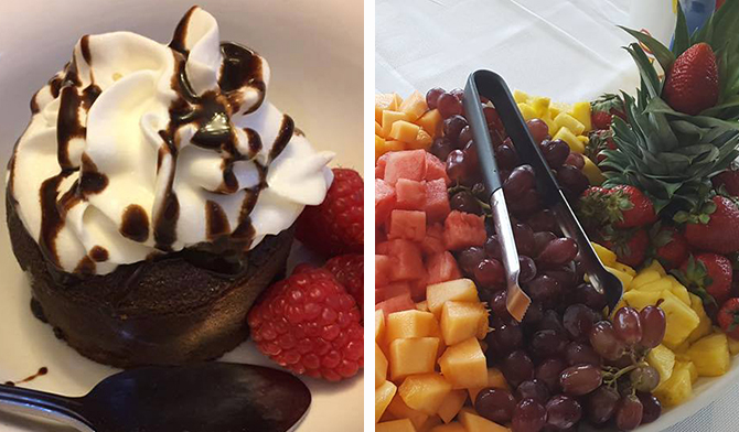 Fresh Fruit Platter and chocolate raspberry mousse - Kill Devil Hills, NC - Dawn's Kitchen Catering