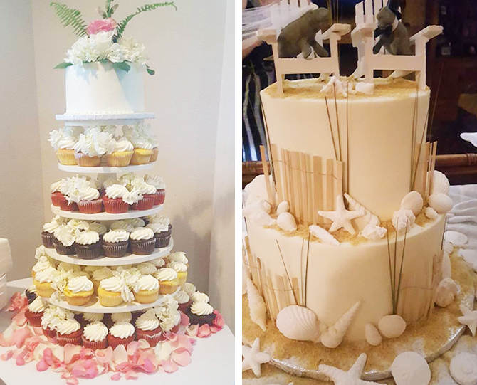 Beach dune themed wedding cake and cupcake tier Hatteras Islands, North Carolina - Dawn's Kitchen Catering