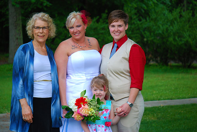 Turning Leaf Ceremonies - Lesbian Brides, Officiant and Family