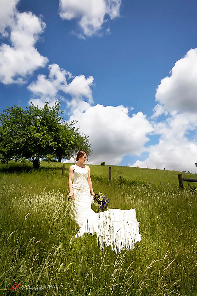 Portrait of a Bride in a meadow with blue bouqet Glasbern Fogelsville, PA