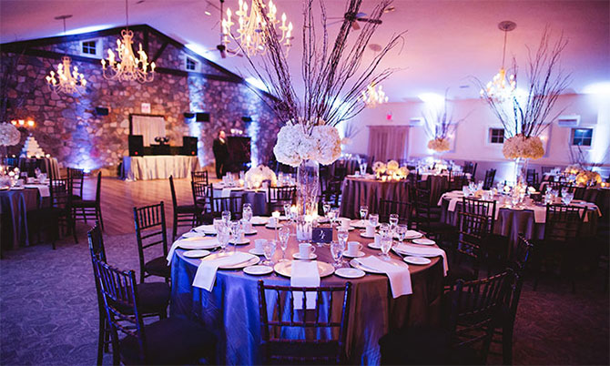 HollyHedge Estate - Reception site with chandeliers and large dance floor